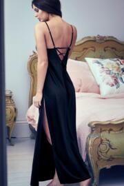 Dusk Satin Full Length Chemise - Black