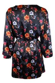 Dusk Dark Floral Satin Wrap - Black