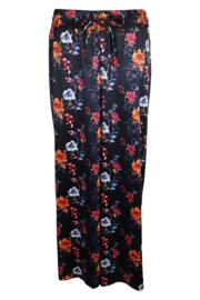 Dusk Dark Floral Satin High Waist Wide Leg Trouser - Black
