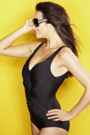 Draped V Neck Swimsuit - Black