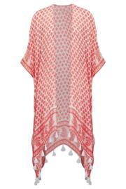 Bohemia Scarf Kimono - Red/White