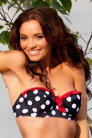 Ahoy Padded Balconette Spotty Bikini Top - Navy/White