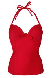Bali Adjustable Halter Underwired Tankini Top - Red