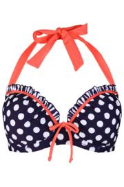 Sea Breeze Lightly Padded Halter Underwired Top - Navy/Coral