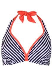Sea Breeze Hidden Triangle Underwired Top - Navy/Coral