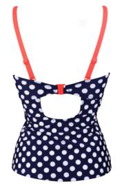 Sea Breeze Removable Straps U/W Tankini Top Navy/Coral - Navy/Coral
