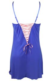 Amour Luxe Chemise - Sapphire/Coral