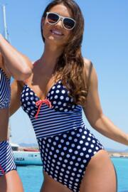 Sea Breeze Adjustable Halter Underwired Swimsuit - Navy/Coral