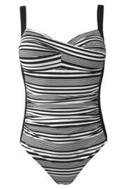Stripe Control Swimsuit - Black/White