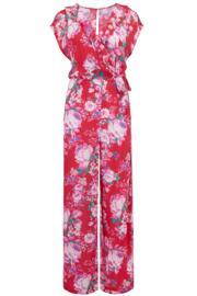 Santa Monica Wrap Front Jumpsuit - Red Floral