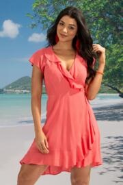 Santa Monica Wrap Dress - Coral