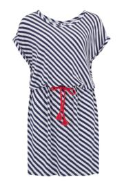 Sea Breeze Jersey T-Shirt Dress - Navy/White