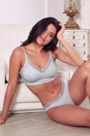 Twist Cotton Soft Non Wired Bra - Grey Marl