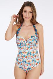 Paradise Halter Swimsuit - Cream/Navy