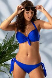 Azure Halter Lightly Padded Underwired Top - Deep Blue
