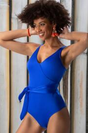 Azure Wrap Belted Control Swimsuit - Deep Blue