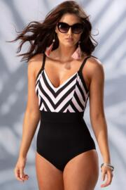 Borderline V Neck Control Swimsuit  - Black/Pink