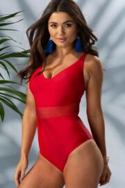 Crochet Waist Control Swimsuit - Red