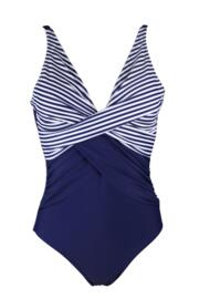 Stripe Cross Front Control Swimsuit - Navy