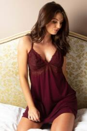 Sofa Love Lace Back Detail Chemise - Sangria