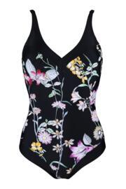 Black Floral Contour Control Swimsuit - Black