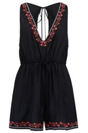 Hot Spots Ditsy Embroidered Playsuit - Black