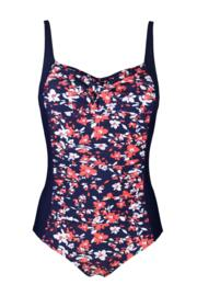 Flower Twisted Front Control Swimsuit - Coral