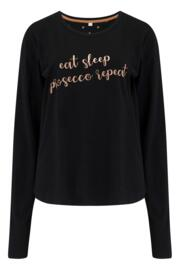 Jersey Cotton Slogan Pyjama Set - Black