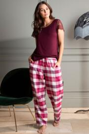 Lazy Days Cosy Check Trouser - Sangria