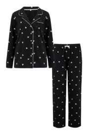Jersey Cotton Floral Pyjama Set - Black/White