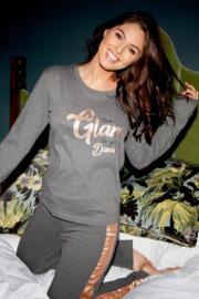 Jersey Cotton Slogan Pyjama Set - Grey