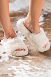 Cosy Faux Fur Slider Slippers - Cream