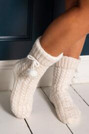 Cosy Cable Knit Slipper Sock - Cream