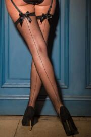 All Wrapped Up Bow Fishnet Seam Stocking - Black