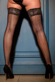 Suspense Fishnet Back Seam Hold Up - Black