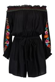 Embroidered Crinkle Bardot Playsuit - Black Floral