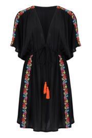 Embroidered Crinkle Cover Up - Black Floral