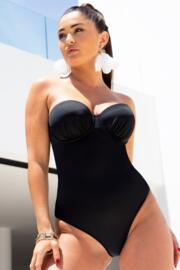 Space Strappy Strapless Underwired Lightly Padded Swimsuit - Black