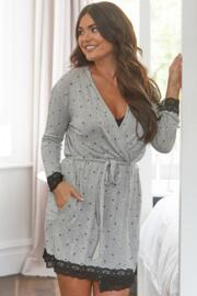 Sofa Loves Lace Jersey Lace Trim Robe - Grey Marl