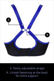 Energy Underwired Lightly Padded Sports Bra - Black Cobalt