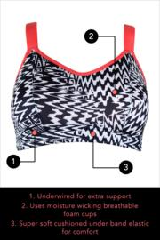 Energy Underwired Lightly Padded Convertible Sports Bra - Black/White