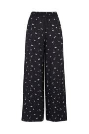 Textured Print Wide Leg Trouser - Black/White