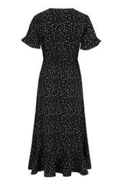 Frill Detail Woven Midi Wrap Dress - Mono Spot
