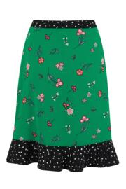 Frill Detail Woven Wrap Skirt - Green Floral