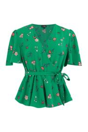 Tie Detail Woven Wrap Top - Green Floral