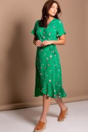 Frill Detail Woven Midi Wrap Dress - Green Floral