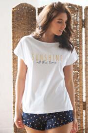 Sunshine All The Time Jersey Short PJ Set - Navy/White