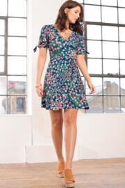 Slinky Jersey Tie Sleeve Tea Dress - Navy Floral