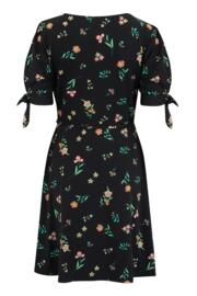 Slinky Jersey Tie Sleeve Tea Dress - Black Floral