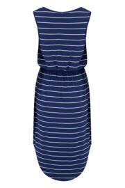 Shirred Waist Midi Jersey Dress - Navy Stripe